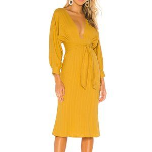 Tularosa Khyla Midi Dress in Mustard Yellow